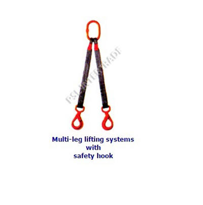 Multi-leg lifting systems with safety hook