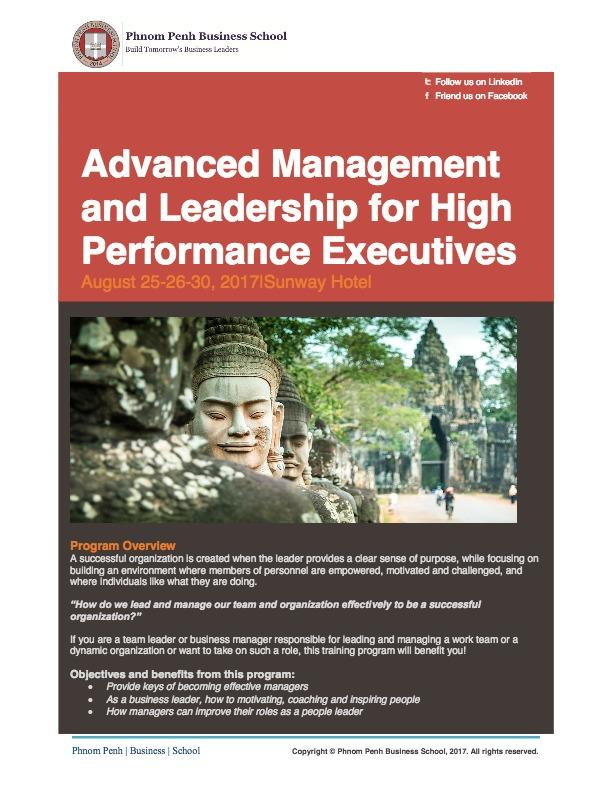 Advanced Management and Leadership for High Performance Executives