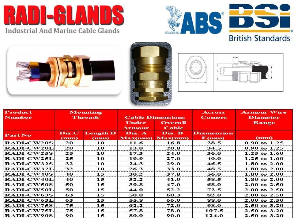 Radi Cw20l Cable Glands With Locknut Kabac Cable Acce