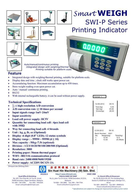 Splash-Proof Weighing Scale - SWE-WP Series - Sin Huat