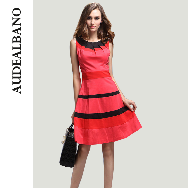 225 audealbano occident brief summer linen slim red black striped patchwork pleated waisted casual swing dresses?1487226155